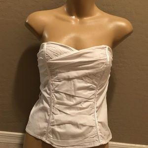 White tube strapless corset top